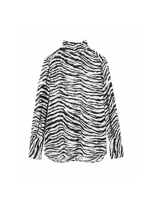 Mock Neck Top in Ivory Tiger Print