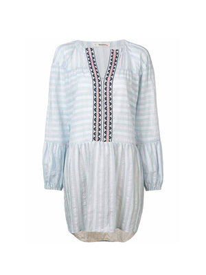 Nefasi Tiered Dress in Sky Blue