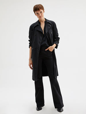 Nili Lotan Oliver Trench Coat in Jet Black
