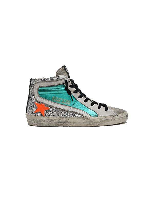 Golden Goose Sneakers Slide in Aquamarine/Orange Star