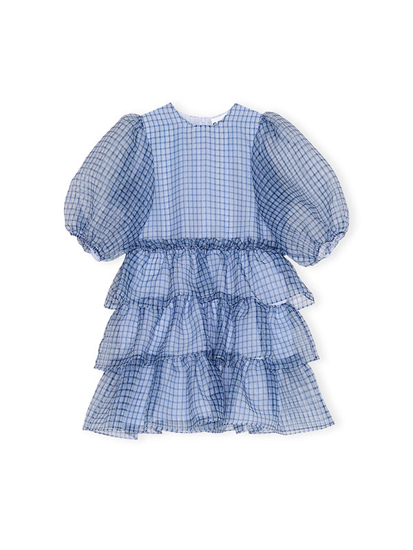 Ganni Organza Mini Dress in Heather