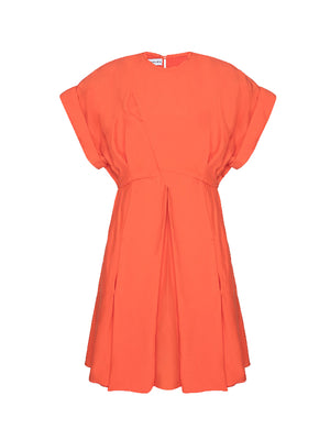 ORAGAMI DRAPPED MINI DRESS IN CORAL