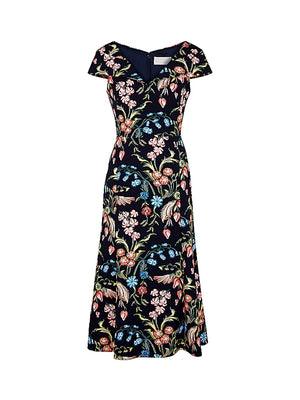 Printed Cady Portrait Neck Dress IN Flower Field Navy