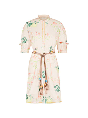 PRINTED COTTON SHIRT DRESS IN PINK