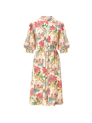 Printed Crepe Shirt Dress In Column Flower