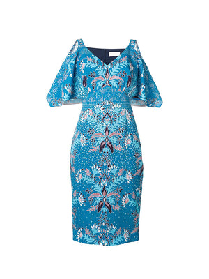 Printed Waffle Cold-Shoulder Dress in Teal