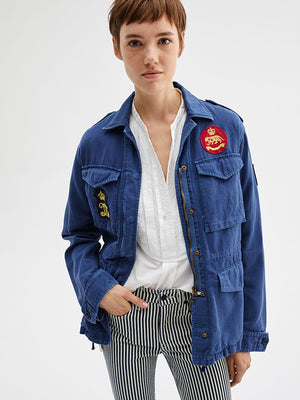 Nili Lotan Patch Army Jacket in French Blue