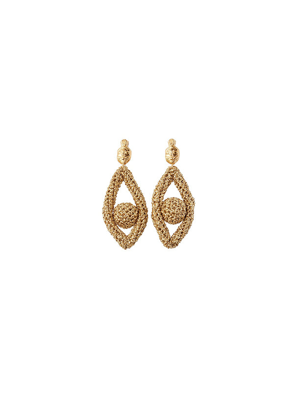 Lucy Folk Phoenician Eyes Earrings - Gold