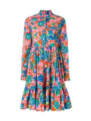 PINK FLORAL LONG SLEEVE DRESS