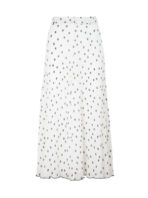 Pleated Georgette Skirt in Egret