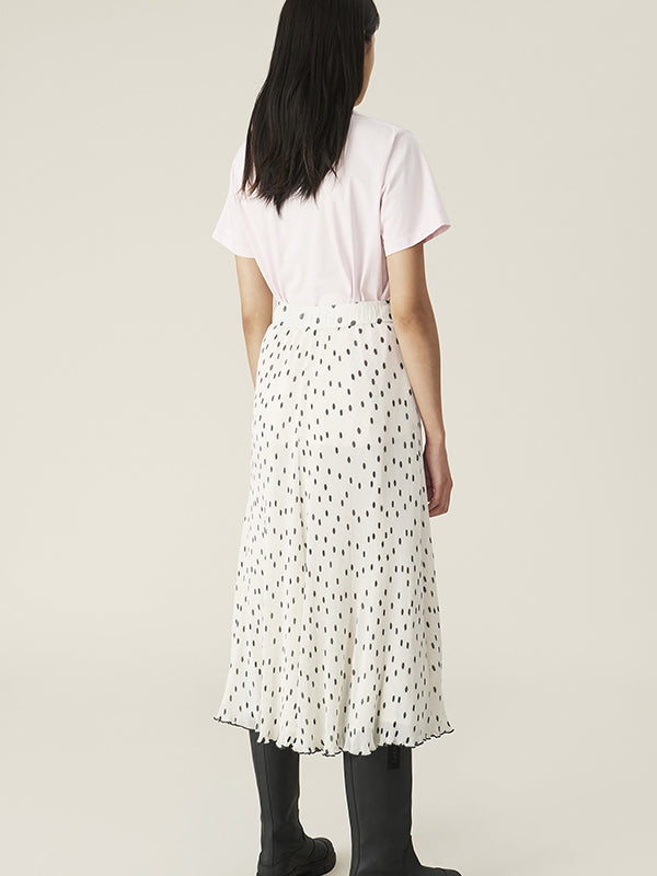 Ganni Pleated Georgette Skirt in Egret