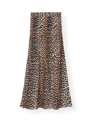 Pleated Georgette Maxi Skirt In Leopard