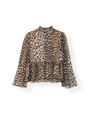 Pleated Georgette Blouse In Leopard