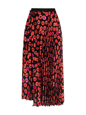Pleated Lip-print Midi Skirt