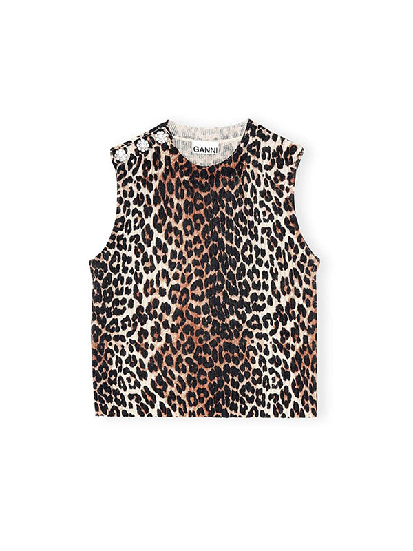 Ganni Knitted Vest in Leopard