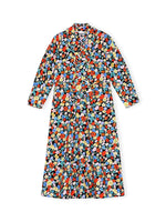 Ganni Printed Cotton Poplin Midi Dress in Multicolour