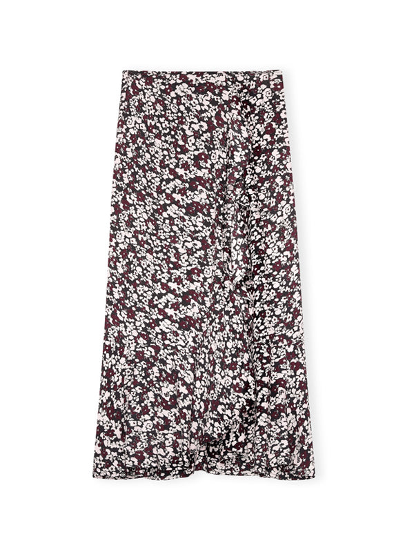 Ganni Printed Crepe Skirt in Phantom