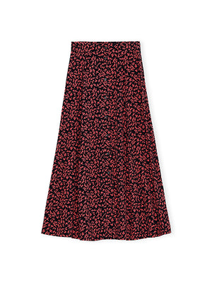 Printed Crepe Skirt in Red/Black Floral