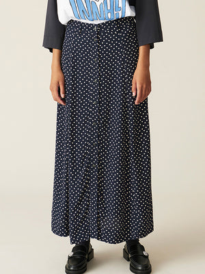 Ganni Printed Crepe Skirt in Sky Captain
