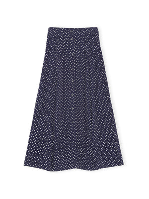 Printed Crepe Skirt in Sky Captain