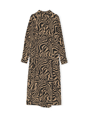 Printed Crepe Shirt Dress In Tannin