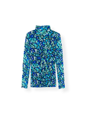 Printed Mesh Rollneck In Azure Blue