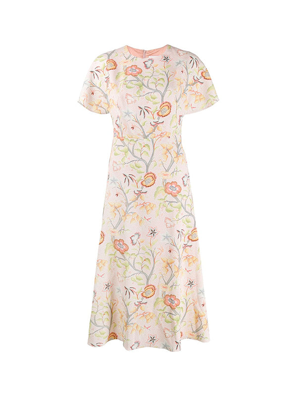 Peter Pilotto Printed Waffle T-dress In Flower Canopy Blush