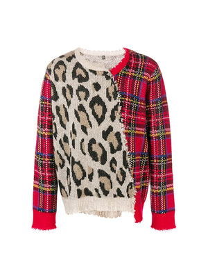 SPLIT SEAM SWEATER IN LEOPARD W/RED TARTAN