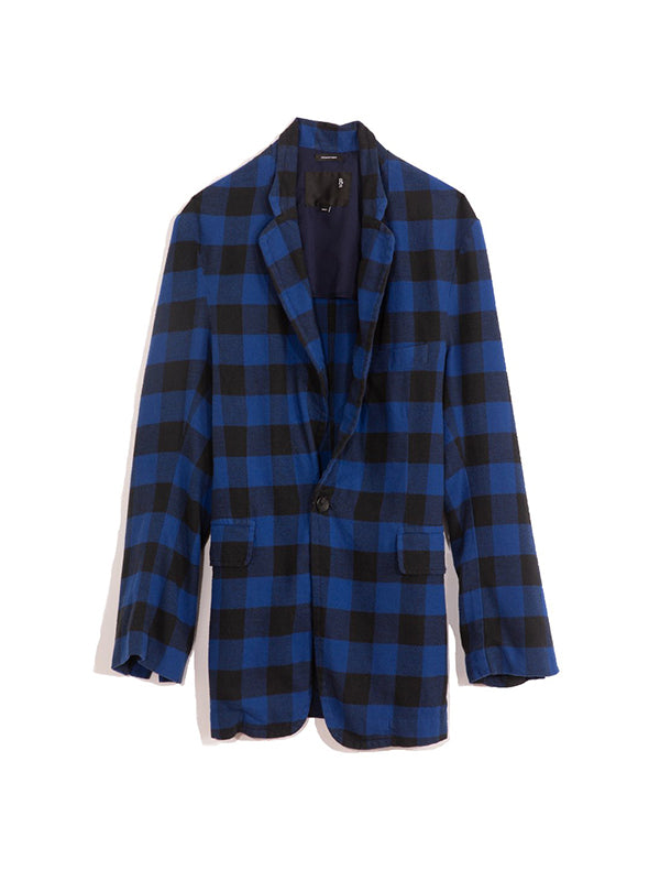 R13 Ragged Blazer in Blue and Black Plaid