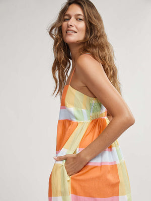 Binny Rainbow Lorikeet Maxi Dress in Madras Check