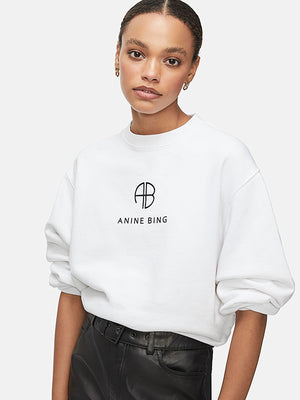 Anine Bing Ramona Sweatshirt Monogram in White