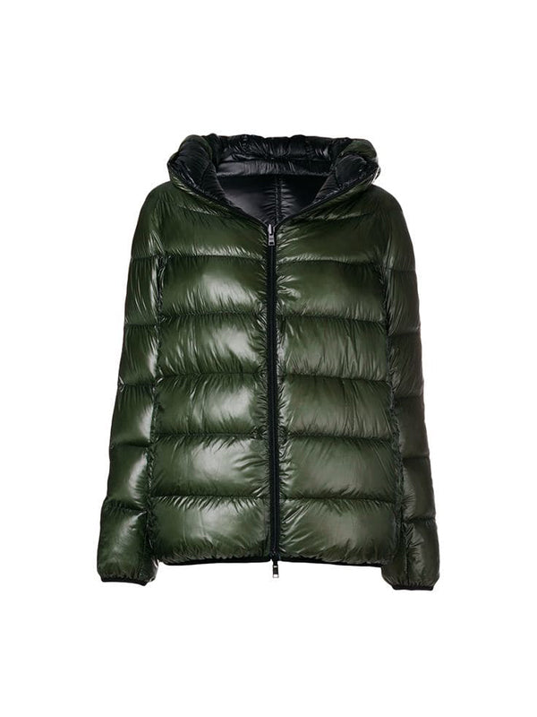 Reversible Green and Black Down Jacket