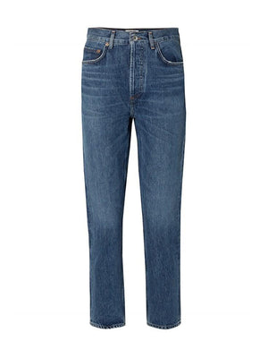 Riley Crop High Rise Straight in Air Blue