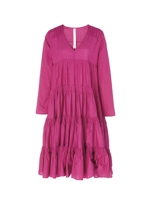 Rodas Tiered Ruche Dress in Pink