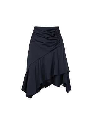 Satin Asymmetric Mini Skirt In Navy