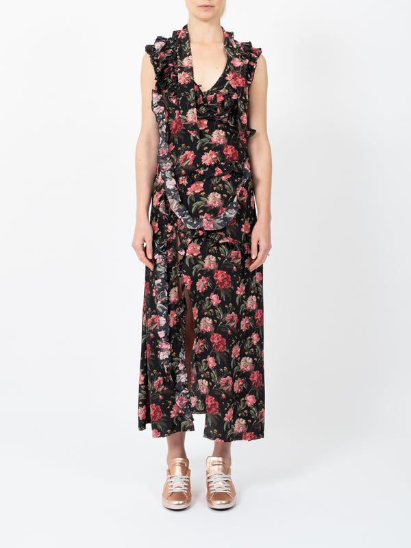 RUFFLESLIT DRESS IN BLACK FLORAL