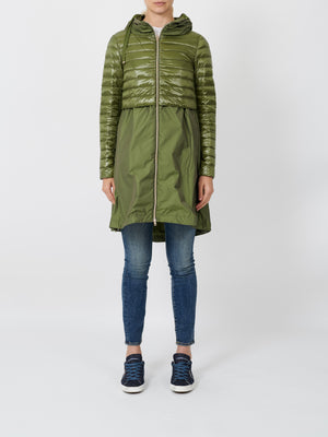 ZIPPED LAYERED JACKET IN OLIVE