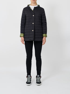 GOOSE DOWN REVERSIBLE JACKET IN BLACK