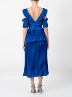 PLEATED COBALT DRESS