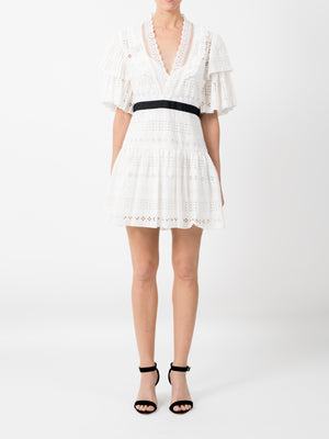 BRODERIE ANGLAISE STRIPE DRESS