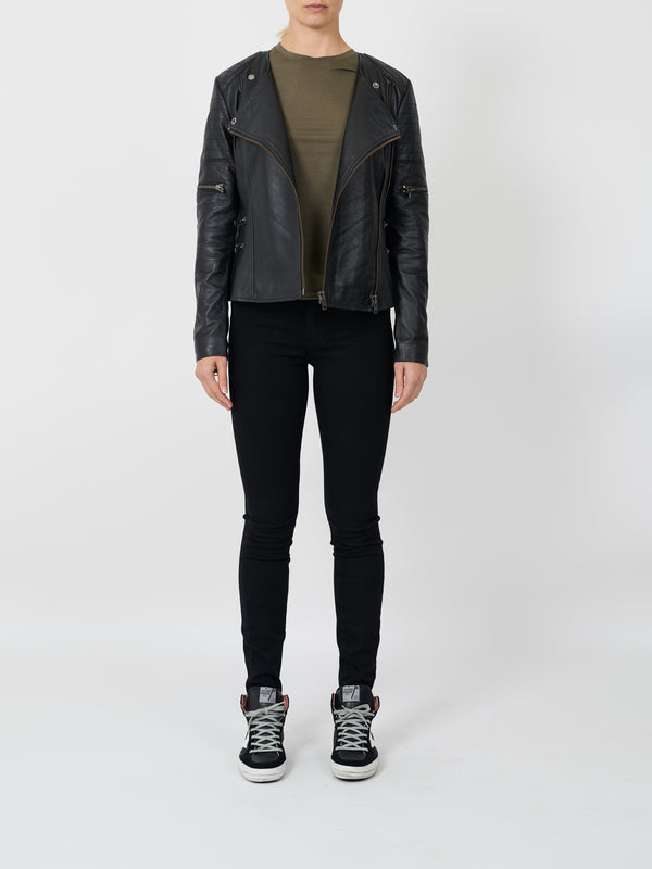 GREENWICH ST MOTOR JACKET IN BLACK