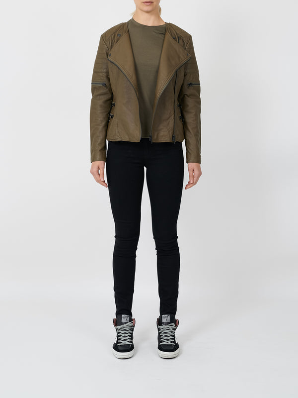 GREENWICH ST MOTOR JACKET IN ALOE GREEN