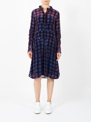 DEVORE VELVET CHECK DRESS IN NAVY