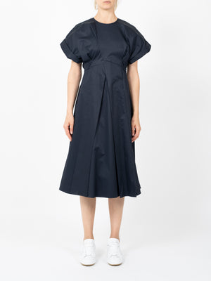 ORAGAMI DRAPPED MIDI DRESS IN NAVY