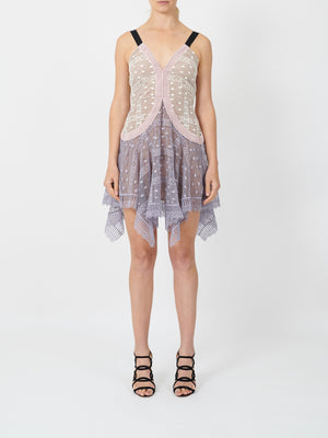 PANELLED LACE HANKERCHIEF DRESS