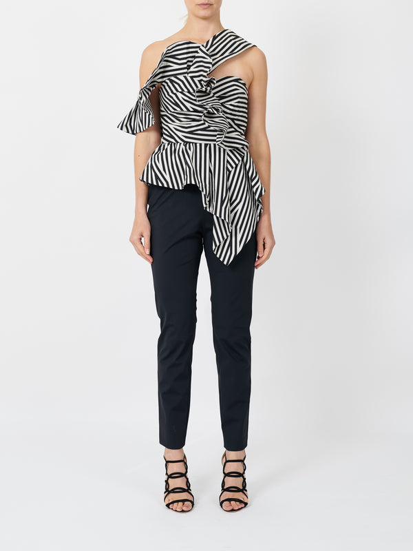 ABSTRACT STRIPE ASYMMETRIC RUFFLE JUMPSUIT