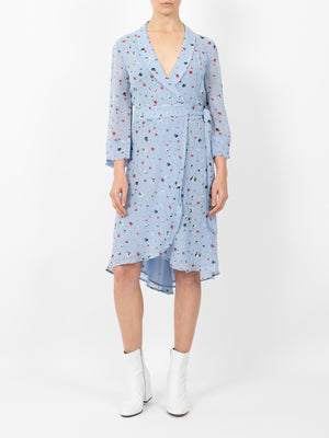 DAINTY GEROGETTE WRAP DRESS IN SERENITY BLUE