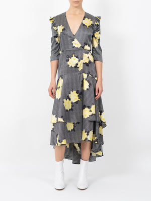 CALLA SILK WRAP DRESS IN BLACK