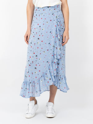 DAINTY GEORGETTE WRAP SKIRT IN SERENITY BLUE