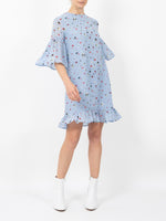 DAINTY GEORGETTE MINI DRESS IN SERENITY BLUE
